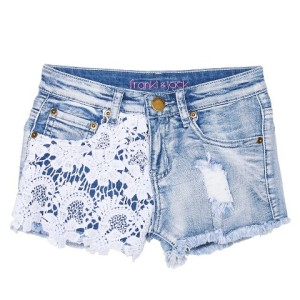 "A pair of Target's ""low rise"" cut-off shorts."